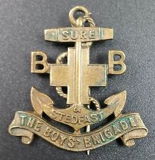 """Vintage Boys Brigade Pin Badge """"Sure & Stedfast"""" Legend on Anchor, 40mm Inc pin"""
