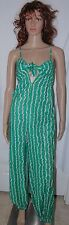 Vintage 70s Womens Pants Suit Jumpsuit Green White S Handmade Hippie Striped