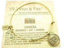 Wind and Fire Camera Charm Gold Wire Bangle Stackable Bracelet Made In USA Gift