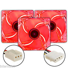 Tre pacco SUPER SILENT 3-pin & Molex 120mm Rosso LED PC Caso Raffreddamento Fan-Case