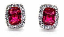 Sterling Silver Ruby And Diamond 4.76ct Emerald Cut Earring (925)