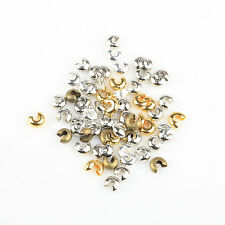 200pcs Silver/Gold Plated Crimp Beads Knot Covers Jewelry Making 3/4/5mm