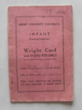 Vintage 1946 Paper Ephemera/ Baby. Kent County Council Weight Card & Food Record