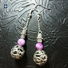 ♥ Beautiful Colored Sea Sediment Silver Plated Lace Ball Earrings