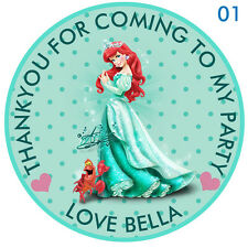 Personalised Disney Princess Ariel  Round  15 Stickers Party Thank You Seals 2""