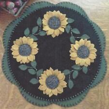 Sunflowers felted wool applique penny rug candle mat pattern Cath's Pennies