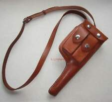 WWII GERMAN MILITARY HOLSTER MAUSER C96 BROOMHANDLE LEATHER HOLSTER WITH STRAP