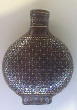 FINE 19 C CHINESE QING LACQUER SILVER GOLD MOTHER OF PEARL INLAID SNUFF BOTTLE 4