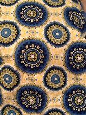 Medallion Fabric 1 Yd 100% Cotton Bohemian Circles Indie Blue Aqua Green