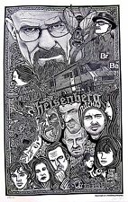 BREAKING BAD TV SHOW CAST Hand Signed Posterography Letterpress Graffiti Art