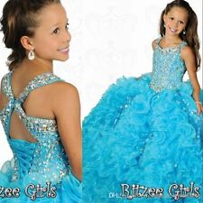 Girls Pageant Dress Formal Kids Princess Party Prom Gowns Dress Size 6 8 10 12-n