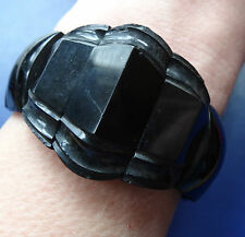 antique Victorian WHITBY JET carved geometric 3D panel bead bangle bracelet D190
