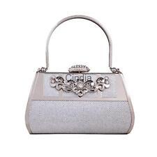 Ladies Silver Vintage Evening Clutch Bags Women Parties Handle Purses Clip