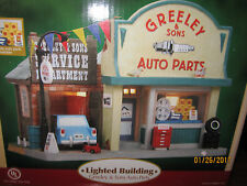 "TRAIN GARDEN VILLAGE NEW  "" GREELEY'S GARAGE &  AUTO PARTS "" +DEPT 56/LEMAX info"