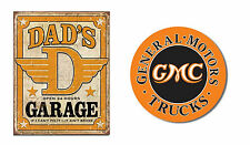 Set of 2 Vintage-Style Signs - Dad's Garage, GMC Trucks - Great Gift for Dad!!