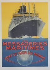 """MESSAGERIES MARITIMES / CHAMPOLLION""Affiche originale entoilée Sandy HOOK 1925"
