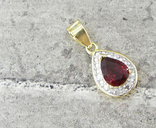 925 Silver & 18K Gold VICTORIA TOWNSEND Red Garnet & Genuine Diamond Pendant 2g