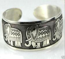 Tibetan craft Tibet Silver Carved Elephant Totem Cuff Bangle Bracelet