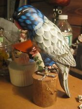 Carved Painted Wood Wooden Bird Parrot Parakeet Figurine