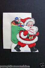 Unused Gibson Die Cut Xmas Greeting Card Jolly Santa with Big Bag of Gifts, Cute