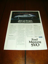 1984 FORD MUSTANG SVO   ***ORIGINAL ADVERTISEMENT / PRINT AD***