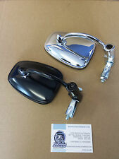BAR END MIRROR BLACK CHROME GREY SILVER CAFE RACER TON UP CLASSIC BIKE