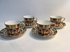 Set of 4 Royal Crown Derby Old Imari 1128 Teacups and Saucers