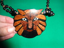 Lion Face Big Cat Inlaid Wood Necklace Beaded Beads Art Tribal