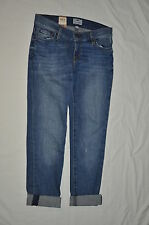 FOSSIL 25 WOMENS JR STRAIGHT CUFFED LEG VINTAGE INDIGO DISTRESSED NWT CUTE JEANS
