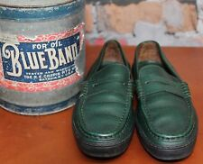Tod's Green Pebbled Leather Penny Loafers Driving Shoes Women US 9 Made In Italy