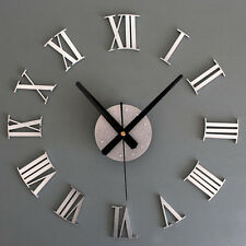 Metal Chic DIY Adhesive Silver Roman Number Wall Clock 3D Living Room
