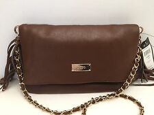 BCBG Women's Handbag *Brown Gold Chain Fringed Shoulder Purse $120