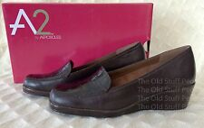 *NWB* Aerosoles A2 Tempting Wedge Loafer Shoes Dark Brown Crocco HEEL REST Sz6M