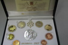VATICANO 2007 SERIE DIVISIONALE PROOF FS PP BE 8 MONETE EURO + SILVER MEDAL AG