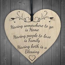 Having Home & Family BLESSING Friendship Mum Sister Hanging Heart Wood Plaque