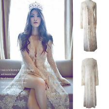 White Lace Nightgown Royal Palace Robe Romantic Dress Sexy V-Neck Long Cardigan