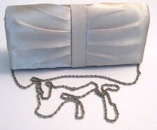 NWOT RSVP Ivory Satin Silver Tone Chain Wedding Evening Purse Bag Clutch