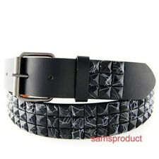 Pyramid Studded Snap On leather belt M 32-36 Black Line