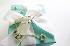 LIMITED EDITION Tiffany & Co Heart Link Lariat Silver Necklace Box Pouch