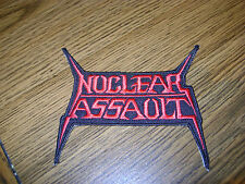 NUCLEAR ASSAULT, RED IRON ON EMBROIDERED PATCH
