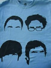 Men's size Small The Big Bang Thoery 4 Portraits of Heads Light   BlueTee Shirt