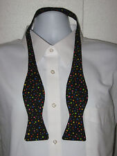 BOW TIE * 100% COTTON * COLORED DOTS ALL OVER  THEMED * SELF-TIE * MEN SIZE *