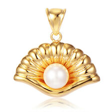 Charm 14K Yellow Gold plated Mouth White Pearl Pendant Wholesale Unique