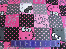 HELLO KITTY CHECKERBOARD PATCH POLKA DOTS PINK & BLACK & GRAY on  COTTON FABRIC