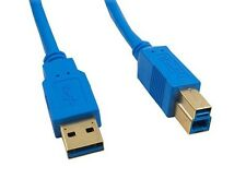 6Ft USB 3.0 Super Speed 5Gbps Gold Plate Type A Male to B Male Cable Blue