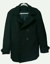 Men's black H&M wool blend Coat, double breasted, navy style