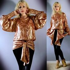 Vtg 70s NINA RICCI Metallic Brocade Sheer Drape Blouson Runway Dress Blouse Top