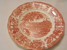 """Royal Worcester Palissy Avon River Scenes Pink Red  10"""" Plate"""