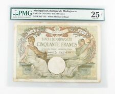 1937-1947 (ND) Madagascar 50 Francs Note (VF-25 NET PMG) Banque Fifty P-38