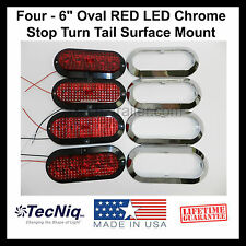 """4 - 6"""" Oval CHROME RED LED Stop Turn Tail Light Surface Mount Trailer Truck USA"""